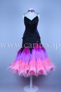EMオーダードレス・黒&ピンク紫羽根